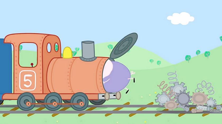 小猪佩奇:哦!猪爷爷把火车拆得七零八散的,真的能修好吗?