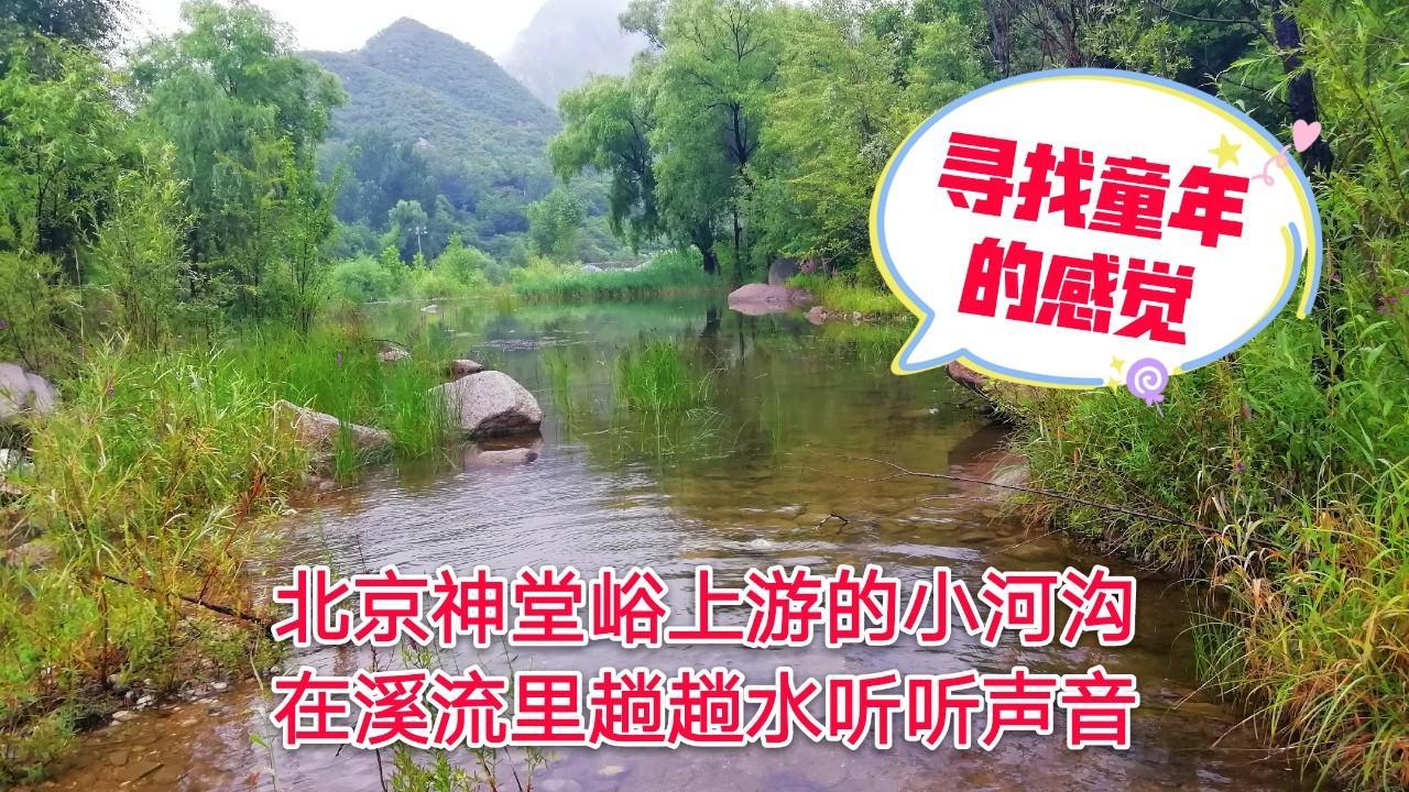 北京神堂峪上游的小河沟,溪流里趟趟水听听声音,寻找童年的感觉