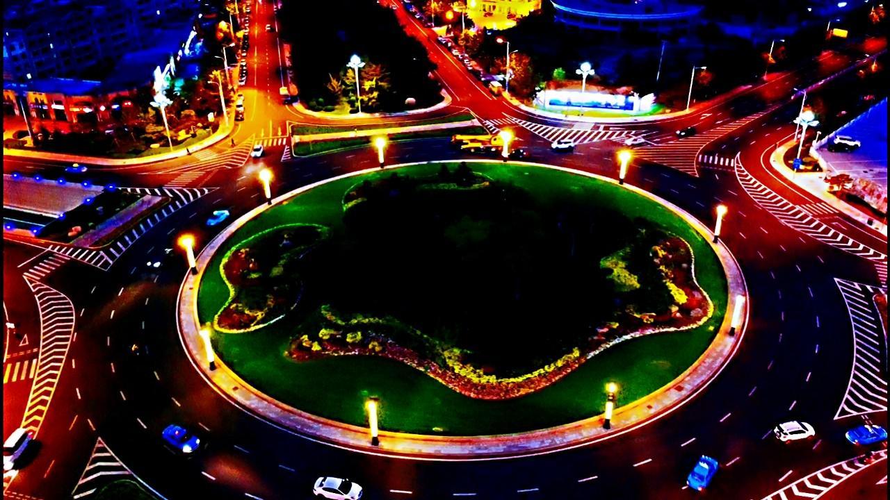 航拍威海:海滨路七条公路环岛,经区大转盘炫酷夜景