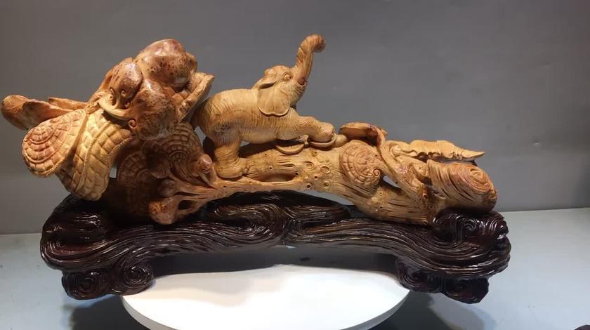 #木雕工艺 #艺术品 #手工雕刻 #摆件 #文玩收藏 吉祥如意摆件